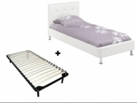 Sparset GABIN: Bett Weiß + Lattenrost - 90x200cm