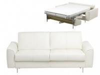 Schlafsofa Leder Express Bettfunktion mit Matratze 3-Sitzer Alphonse - Luxusleder - Elfenbein