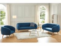 Couchgarnitur 3+2+1 Stoff PENNY - Blau