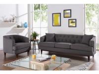 Couchgarnitur 3+1 Stoff Elton - Anthrazit
