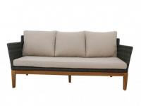 Garten 3-Sitzer-Sofa Holz & Polyrattan NASHIK