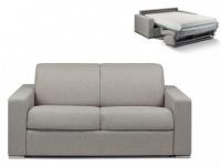 Schlafsofa 2-Sitzer Stoff CALITO - Grau - Liegefläche: 120 cm - Matratzenhöhe: 22cm