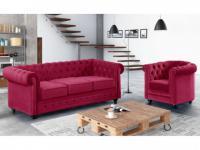 Couchgarnitur 3+1 Samt Chesterfield ANNA - Fuchsia