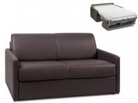 Schlafsofa 2-Sitzer CALIFE - Braun - Liegefläche: 120 cm - Matratzenhöhe: 22cm