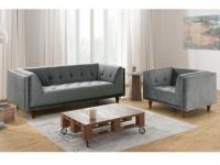 Couchgarnitur Samt BENICIO 3+1 - Grau