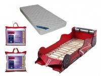 Sparset Kinderzimmer: Kinderbett FORMEL 1 + Lattenrost + Matratze + Bettdecke + Kopfkissen