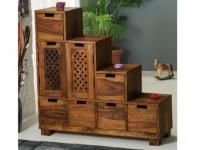 Regal Raumteiler Holz massiv SARAYU