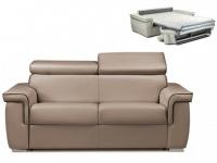Schlafsofa 2-Sitzer ALTESSE - Taupe mit Ziernaht Braun - Liegefläche: 120cm - Matratzenhöhe: 14cm