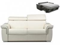 Schlafsofa 2-Sitzer ALTESSE - Weiß mit Ziernaht Grau - Liegefläche: 120cm - Matratzenhöhe: 22cm