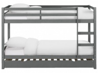 Etagenbett Ausziehbett Massivholz ANICET + Lattenrost - 2x90x200cm & 90x190cm