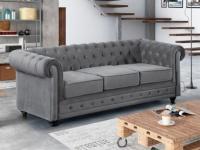 3-Sitzer-Sofa Chesterfield Samt ANNA - Grau
