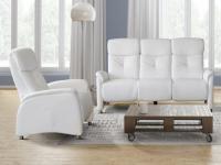 Relaxsofa Garnitur 3+1 LOCARI - Weiß