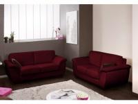 Ledergarnitur Schlafsofa 3+2 Salerne - Luxusleder - Rot
