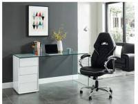 Schreibtisch mit Stauraum Sicherheitsglas MURIEL - 4 Schubladen
