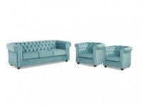 Couchgarnitur 3+1+1 Samt Chesterfield ANNA - Blau
