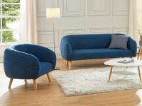 Couchgarnitur 3+2 Stoff PENNY - Blau