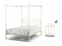 Sparset: Metallbett Himmelbett mit Lattenrost Imperatrice + 2 Nachtische - 180x200cm
