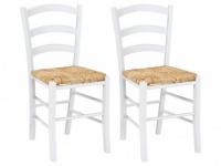 Stuhl 2er-Set Holz massiv PAYSANNE - Weiß