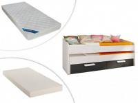 Set Ausziehbett ANSELME + Matratzen - 2x 90x190cm - Schwarz/Weiß