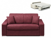 Schlafsofa 2-Sitzer Stoff EMIR - Bordeauxrot - Liegefläche: 120cm - Matratzenhöhe: 18cm
