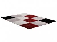 Hochflorteppich CUBIO - 160x230cm - Rot/Schwarz/Weiß