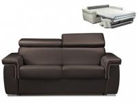 Schlafsofa 2-Sitzer ALTESSE - Braun mit Ziernaht Beige - Liegefläche: 120cm - Matratzenhöhe: 14cm