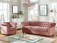 Couchgarnitur 3+1 Samt Chesterfield ANNA - Rosa