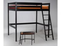 Hochbett Gary mit Lattenrost - 140x190cm - Schwarz