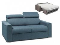 Schlafsofa 2-Sitzer Stoff VIZIR - Blau - Liegefläche: 120cm - Matratzenhöhe: 22cm