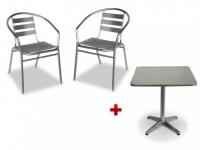 Sitzgruppe Aluminium Montmartre: Tisch quadratisch + 2 Stühle