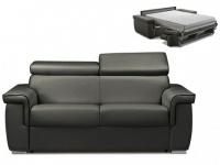 Schlafsofa 2-Sitzer ALTESSE - Anthrazit mit Ziernaht Schwarz - Liegefläche: 120cm - Matratzenhöhe: 22cm