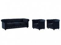 Couchgarnitur 3+1+1 Samt Chesterfield ANNA - Schwarz mit Kristallknöpfen
