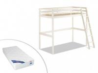 Set Hochbett Massivholz mit Schreibtisch GEDEON + Matratze - 90x190cm