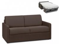 Schlafsofa 2-Sitzer Stoff CALIFE - Braun - Liegefläche: 120 cm - Matratzenhöhe: 22cm