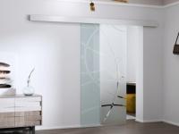 Glasschiebetür Alusystem HEIDI - H 205 x B 73 cm