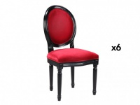 Stuhl 6er-Set Samt Louis XVI - Rot