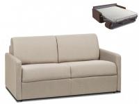 Schlafsofa 2-Sitzer Stoff CALIFE - Beige - Liegefläche: 120 cm - Matratzenhöhe: 14cm