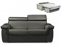 Schlafsofa 2-Sitzer ALTESSE - Anthrazit mit Ziernaht Schwarz - Liegefläche: 120cm - Matratzenhöhe: 14cm