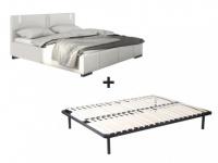 LED-Bett SOREN + Lattenrahmen - 160x200 cm - Weiß