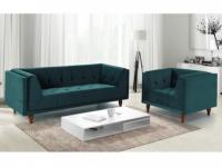 Couchgarnitur Samt BENICIO 3+1 - Blau