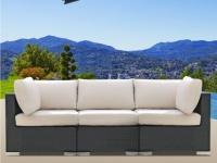 Polyrattan Gartensofa 3-Sitzer Alanda - Anthrazit