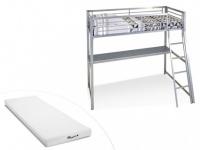 Hochbett mit Schreibtisch Malicio + Matratze Stelo in 90x190cm (2-tlg.) - Silber