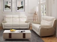 Garnitur Relax 3+2 Leder LUGO - Weiß/Beige