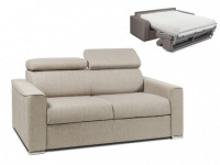 Schlafsofa 2-Sitzer Stoff VIZIR - Beige - Liegefläche: 120cm - Matratzenhöhe: 22cm