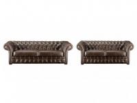 Chesterfield Ledergarnitur Clotaire 3+2 - Vintage Leder - Braun