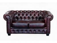 Chesterfield Ledersofa 2-Sitzer Brenton - Vintage Leder - Rot-Schwarz