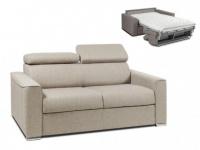 Schlafsofa 2-Sitzer Stoff VIZIR - Beige - Liegefläche: 120cm - Matratzenhöhe: 14cm