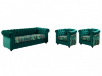 Couchgarnitur 3+1+1 Samt Chesterfield EWA