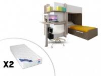 Set Hochbett mit Schreibtisch SAMUEL + Bettboden + 2 Matratzen ZEUS - 2x90x190 - Braun