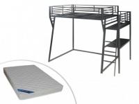 Set Hochbett mit Schreibtisch CAZEL + Lattenrost + Matratze ZEUS - 140x190cm